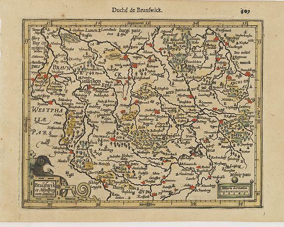 MERCATOR, G. / HONDIUS, J. -  Brauswik et Meydburg com confinijs.