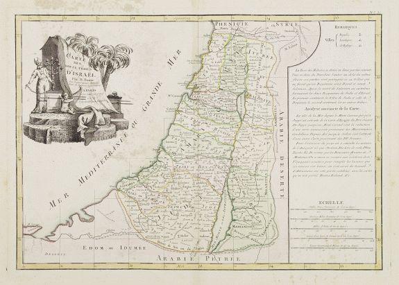 LATTRÉ / BONNE, R. -  Carte des Douze Tribus d'Israel. . .