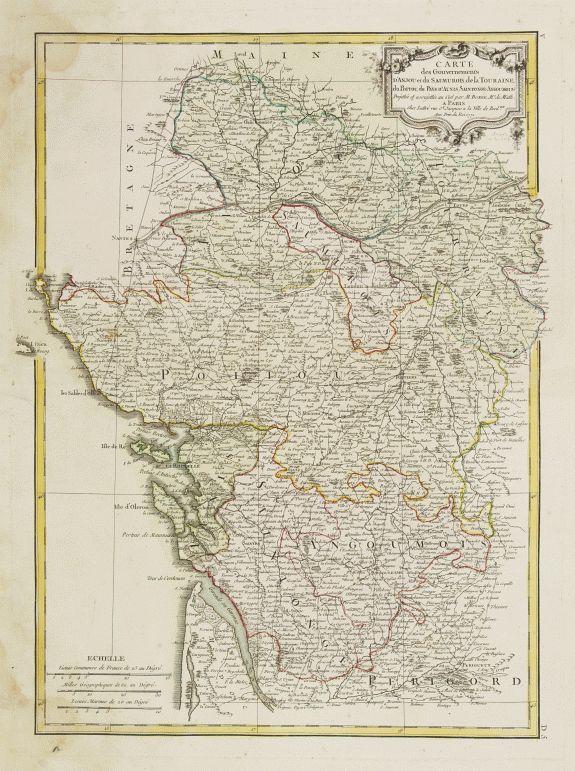LATTRÉ / BONNE,R. -  Carte des Gouvernements d' Anjou et du Saumurois.. Saintonge-Angoumois..