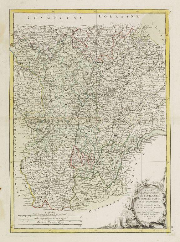 LATTRÉ / BONNE,R. -  Carte des Gouvernements de Bourgogne, de Franche Comté et de Lyonnois..