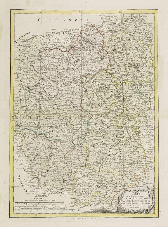LATTRÉ / BONNE,R. -  Carte des Gouvernements du Berri, du Nivernois.. Auvergne..