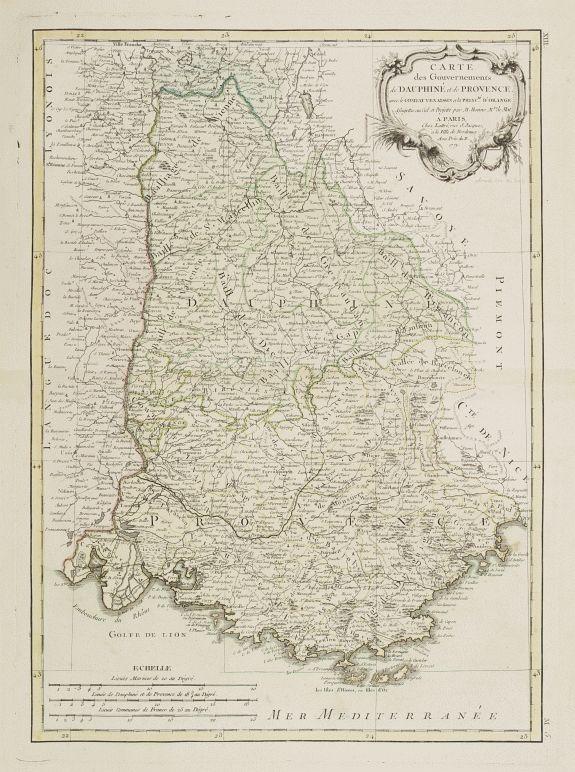LATTRÉ / BONNE, R. -  Carte des Gouvernements de Dauphiné et de Province..