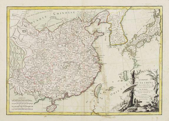 LATTRÉ / BONNE,R. -  L'Empire de la Chine d'après l'Atlas Chinois, avec les Isles du Japon..