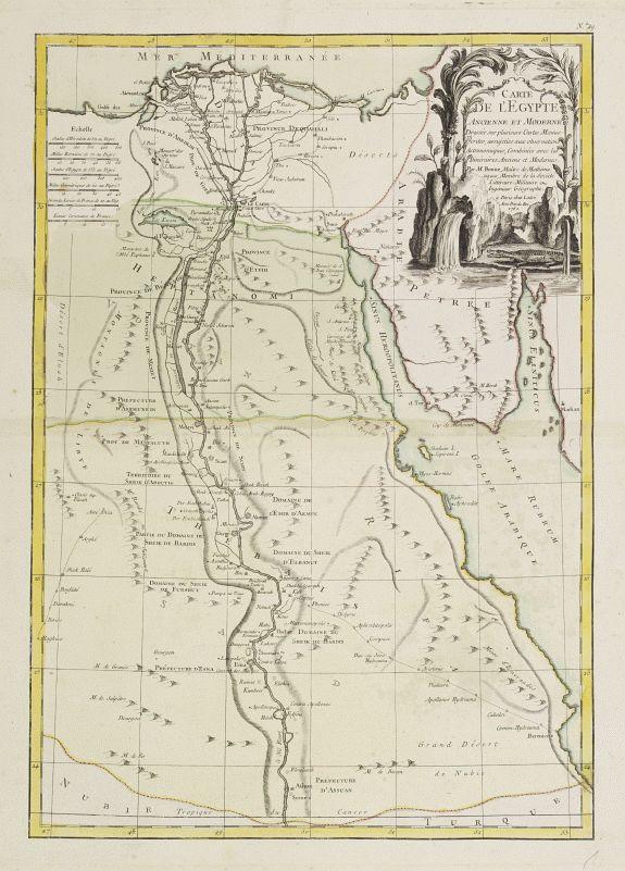 LATTRÉ / BONNE, R. -  Carte de l'Egypte Ancienne et Moderne..