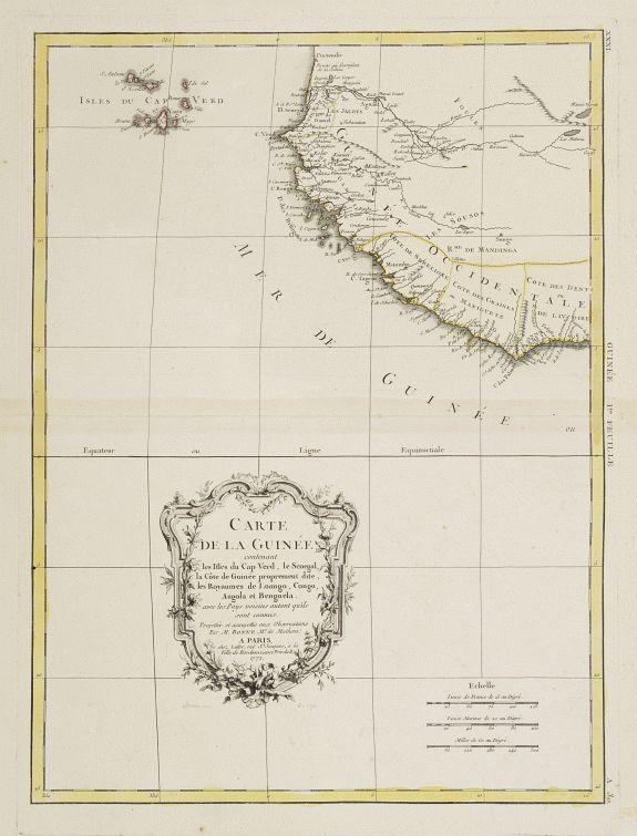 LATTRÉ / BONNE,R. -  Carte de la Guinée contenant les Isles du Cap Verd, le Senegal..