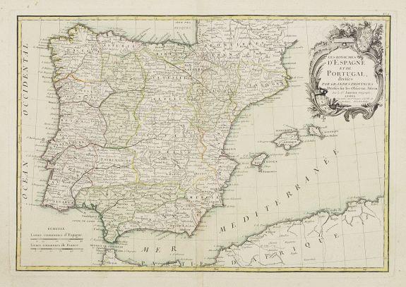 LATTRÉ / JANVIER, Sr. -  Les Royaumes D'Espagne et de Portugal, divisés Par Grandes Provinces..