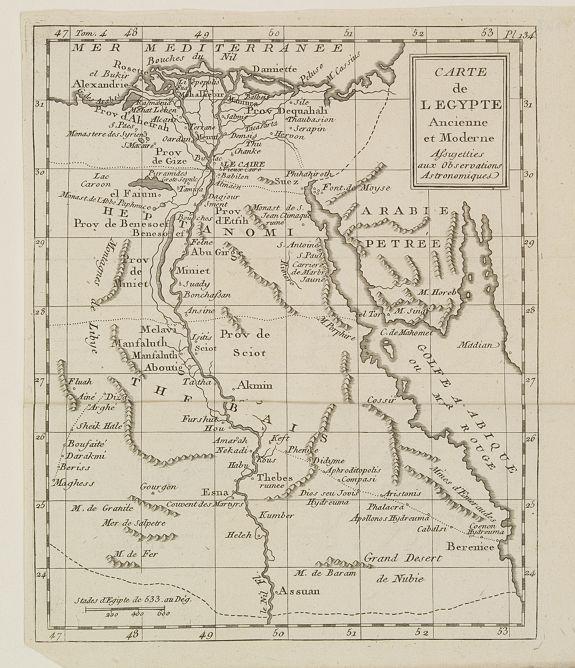 DELAPORTE,L'Abbé. -  Carte de l'Egypte Ancienne et Moderne..