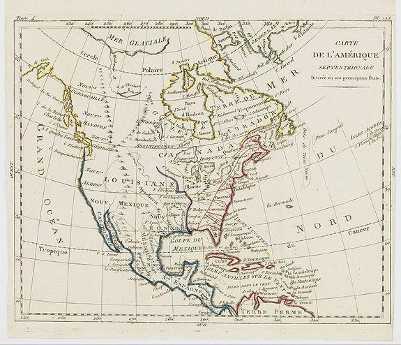 DELAPORTE, L'Abbé. -  Carte de l'Amérique Septentrionale Divisée en ses principaux Etats.