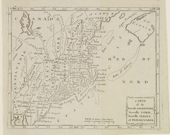 DELAPORTE, L'Abbé. -  Carte de la Nouvelle Angleterre, Nouvelle York, Nouvelle Jersey, et Pensilvanie.