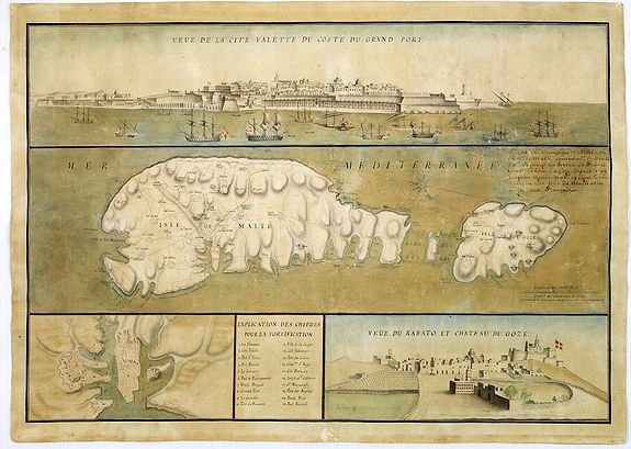 Antique Maps And Views Of Malta - Rare old maps for sale