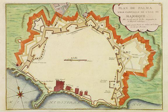 DE FER, N. -  Plan de Palma ville capitalle de l'Isle de Majorque.