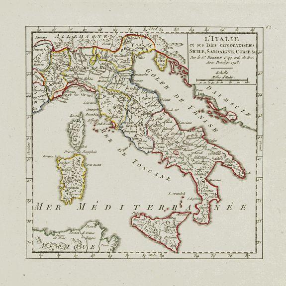 VAUGONDY,R. de -  L'Italie et ses Isles circonvoisines Sicile, Sardaigne, Corse, &c.