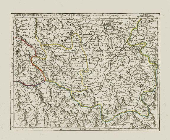 VAUGONDY,R. de -  Carte des Sources du Po où se trouve la Partie Merid.le de la Prin.té de Piemont.