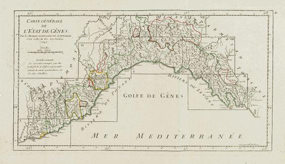 VAUGONDY, R. de -  Carte Générale de l'Etat de Gênes.