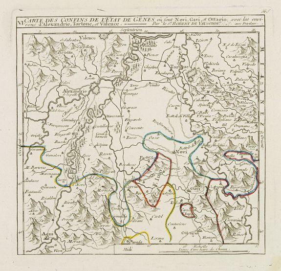 VAUGONDY, R. de -  VI. Carte des Confins de l'Etat de Gênes où sont Novi, Gavi, et Ottagio..