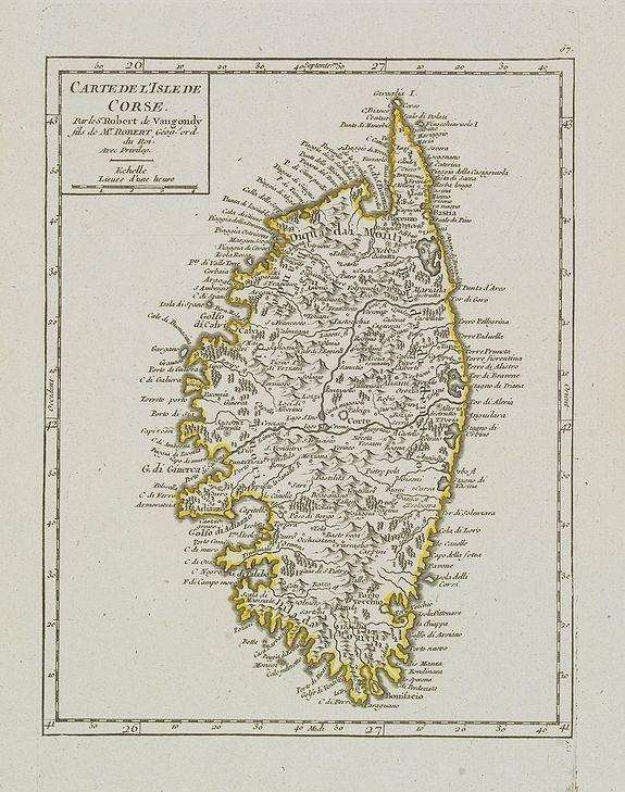 VAUGONDY, R. de -  Carte de l'Isle de Corse.