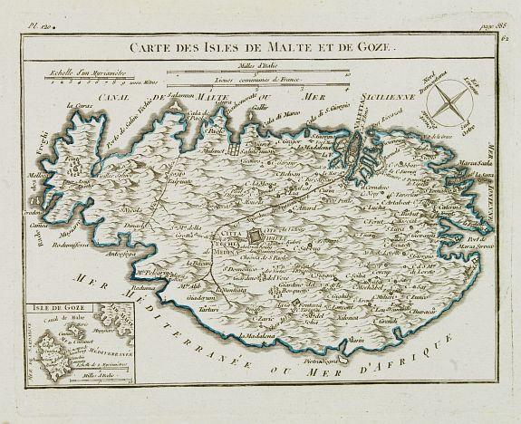 VAUGONDY, R. de -  Carte des Isles de Malte et de Goze.