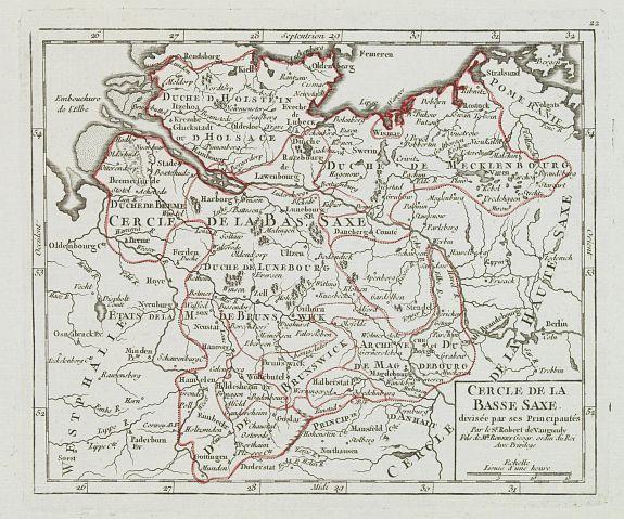 VAUGONDY, R. de -  Cercle de la Basse Saxe, divisée par ses Principautés.
