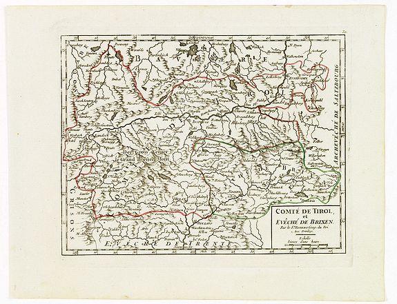VAUGONDY, R. de -  Comté de Tirol, et Evêché de Brixen.