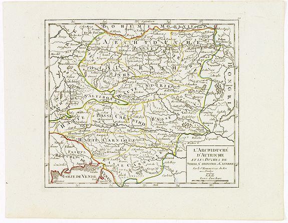VAUGONDY, R. de -  L'Archiduché d' Autriche et les Duchés de Stirie, Carinthie et Carniole.