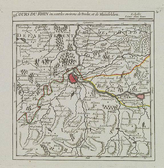 VAUGONDY, R. de -  II. Cours du Rhin où sont les environs de Basle, et de Rhinfelden.