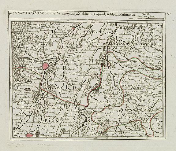 VAUGONDY, R. de -  IV. Cours du Rhin où sont les environs de Rhinaw, Cappel, Schletat, Colmar &c.