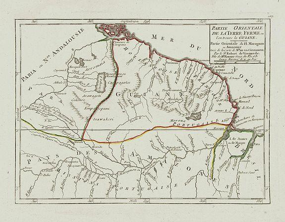 VAUGONDY, R. de -  Partie Orientale de la Terre Ferme ou l'on trouve la Guiane.