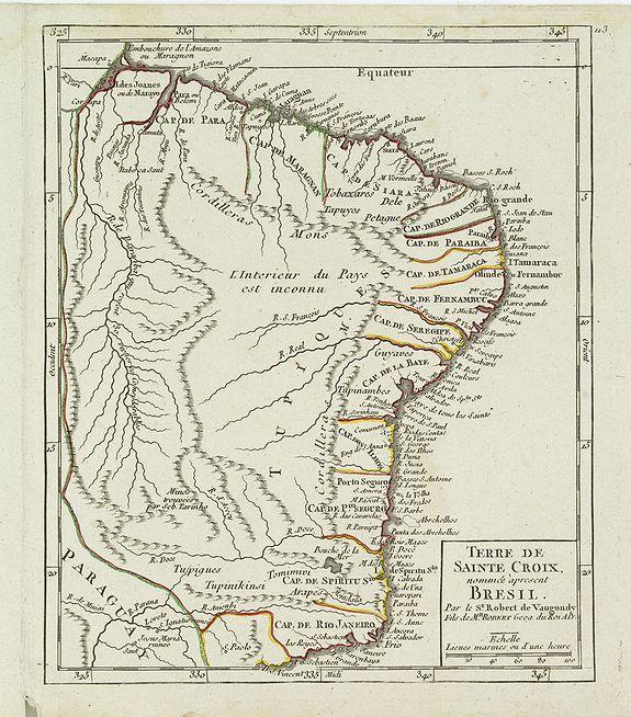 VAUGONDY, R. de -  Terre de Sainte Croix, nommée à présent Bresil.