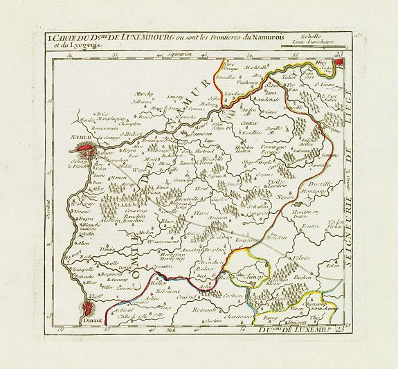 VAUGONDY, R. de -  I. Carte du D.ché de Luxembourg ou sont les Frontieres du Namurois et du Lyegeois.