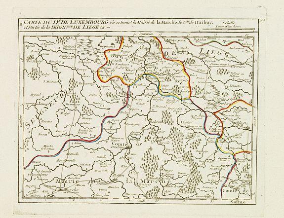 VAUGONDY, R. de -  II. Carte du D.é de Luxembourg.. Seign.rie de Lyege &c.