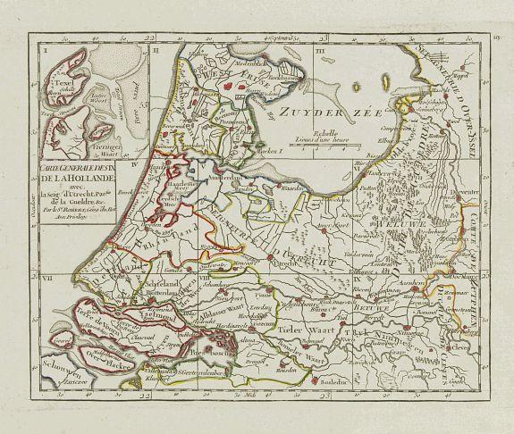 VAUGONDY, R. de -  Carte Generale des Six de la Hollande, avec, la Seig? D'Utrecht, Partie de la Gueldre, &c.