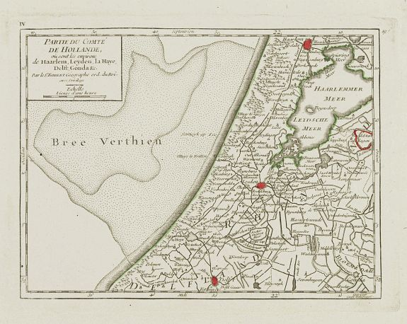 VAUGONDY, R. de -  IV. Partie du Comté de Hollande.. Haarlem, Leyden, la Haye..