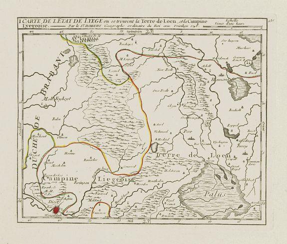 VAUGONDY, R. de -  I. Carte de l'Etat de Lyege ou se trouvent la Terre de Leon, et la Campine Lyegeoise.