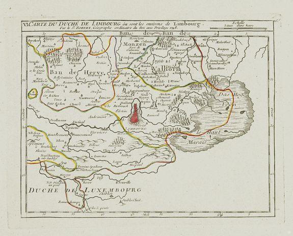 VAUGONDY, R. de -  VI. Carte du Duché de Limbourg où sont les environs de Limbourg.