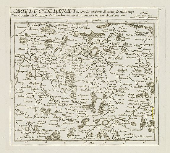VAUGONDY, R. de -  IV. Carte du C.té de Haynaut ou sont les environs de Mons, de Maubeuge..