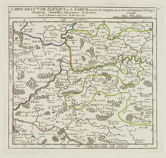 VAUGONDY, R. de,  V. Carte des C.tes de Haynaut et de Namur. . ., antique map, old maps