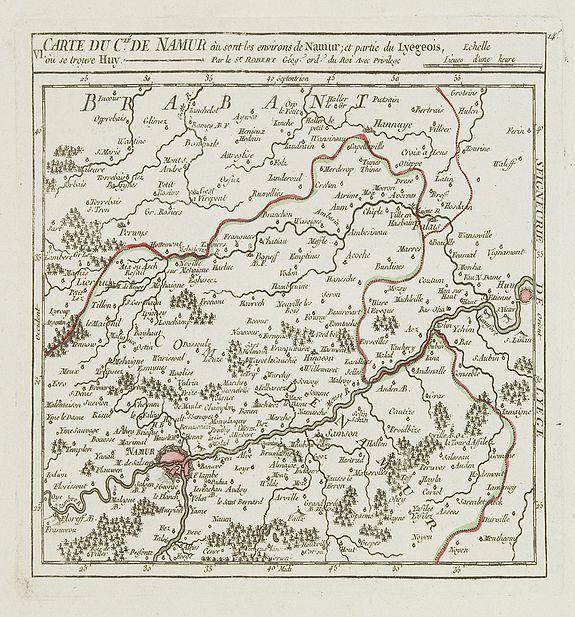 VAUGONDY, R. de -  VI. Carte du C.té de Namur où sont les environs de Namur.. Huy.