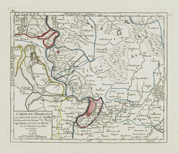 VAUGONDY, R. de -  [IV.] Carte du Brabant où se trouvét la Mairie de Santhoven.. Ryen.