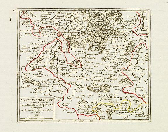 VAUGONDY, R. de -  [IX.] Carte du Brabant ou sont les Mairies de Roo, de Nivelle, de Hulpen, et de Geneppe.