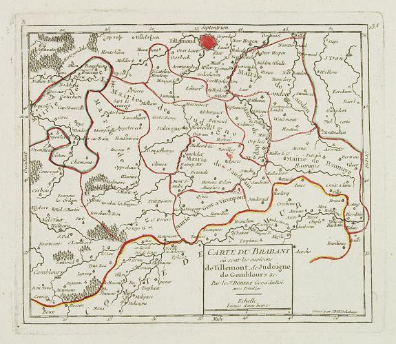 VAUGONDY, R. de -  [X.] Carte du Brabant où sont les environs de Tillemont, de Judoigne, de Gemblours &c.