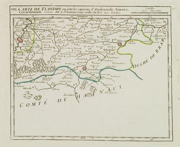 VAUGONDY, R. de -  VIII. Carte de la Flandre ou sont les environs d'Oudenarde, Ninove, Gerardmont.