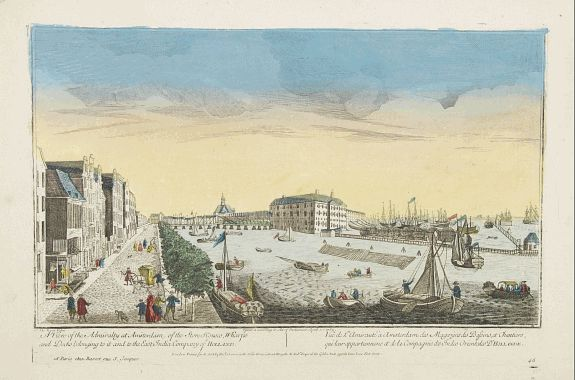 OVERTON, H. / BASSET -  A view of the Admiralty at Amsterdam of the store houses, wharfes.. To the East India Company of Holland..