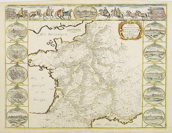BEREY, N.,  Carte Generalle de toute les poste et traverse de France., antique map, old maps