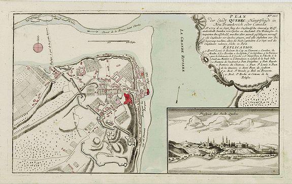 RASPISCHEN HANDLUNG -  Plan der Stadt Quebec Haupstadt in Neu Franckreich oder Canada..