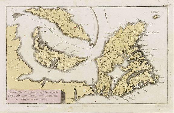 RASPISCHEN HANDLUNG -  Grund Riss der Americanischen Insuln Cape Breton, St. Iean und Anticosti im Flusse S. Laurencii..
