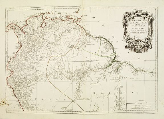 SANTINI,P. / REMONDINI,M. -  Carte du Pérou et du Brésil sep. De Tierra-Firme, de Guayana.. Amazones..