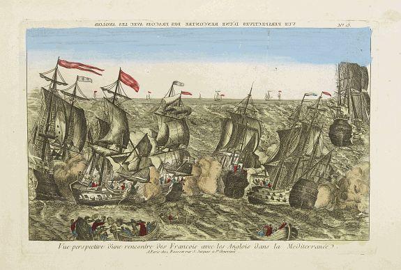 BASSET -  Vue perspective d'une rencontre des François avec les Anglois dans la Mediterranée.