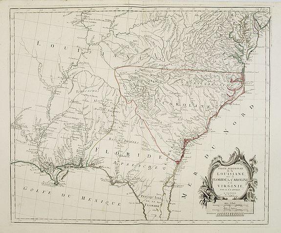 SANTINI, P. / REMONDINI, M. -  Partie Méridionale de la Louisiane, avec la Floride, la Caroline et la Virginie..