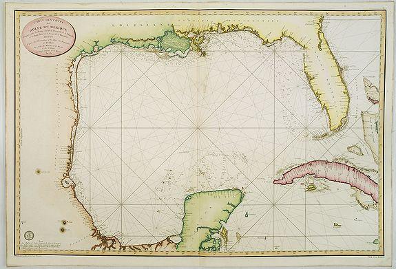 DEPOT GÉNÉRAL DE LA MARINE -  Carte des côtes du Golfe du Mexique compris entre la pointe sud de la presqu'Ile de la Floride et la pointe nord de la presqu'Ile d'Yucatan: Dresée d'après le observations et las plans des espagnols, et publièe par ordre du Minstre de la Marine . . .