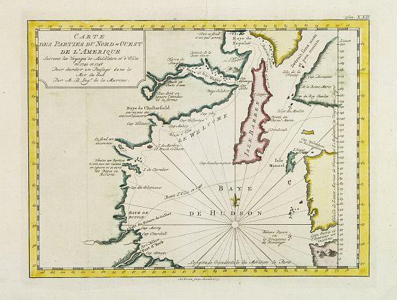 BELLIN, J.N. -  Carte Des Parties Du Nord-Ouest De L'Amerique Suivant les Voyages de Middleton et d Ellis en 1742 et 1746..